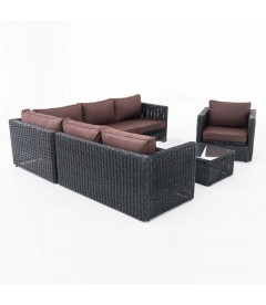 TABERA - Rund Rattan - Luksus have loungesæt