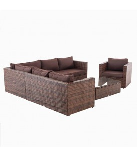 TABERA - Luksus have loungesæt - brun