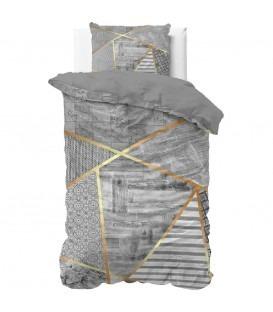 Grafik grå - Bomuld - Sengesæt - 140 x 220 cm